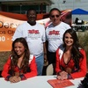 Chris Martinez and Greg Allen with Denver Broncos cheerleaders